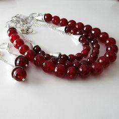 Raspberry agate gemstone triple strand by PacificJewelryDesign, $155.00