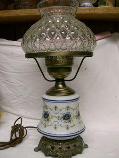 1973 Quoizel Hurricane Lamp Vintage Abigail Adams Inspired Blue U0026 Pressed  Glass Shade