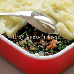 Hamburger Potato Casserole - Hachis Parmentier Recipe  I will use veggie crumbles and soy dairy instead