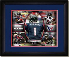 Your Name on a Houston Texans jersey as the #1 Draft Pick, with other football star players of your favorite NFL team, Framed Poster