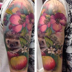 Lianne Moule - super cute hedgehog and fruit tattoo