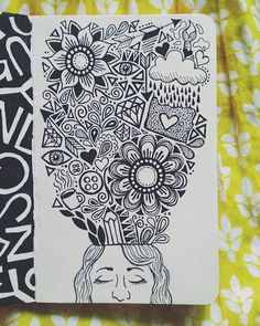 Inside My Head Drawn in my little red moleskine with micron...