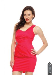 One Shoulder Side Emb. Dress by Ozel Studio