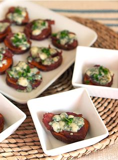 Bacon & Blue Cheese Sweet Potatoes Appetizer