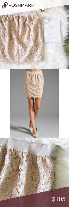 nwt//joie • abeline lace skirt in mushroom color 🛍: joie ▫️abeline mushroom/rosegold lace mini skirt ▫️super sexy blush nude color - color truest in last two photos  ▫️fully lined ▫️no pockets or zippers ▫️size: small ▫️materials: shell - 58% cotton, 42% nylon; lining - 100% polyester ▫️condition: new with tag from barney's  •please read description & ask questions before purchasing• •no trades• Joie Skirts Mini