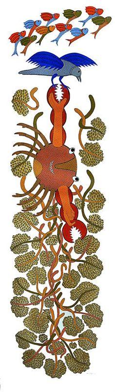 Sukhnandi Vyam Pardhan - Spider Weaves a Web @ Sukhnandi Vyam- Gond Paintings Gond Painting, Tribal Community, Krishna Leela, Madhubani Art, Indian Folk Art, Indiana, Applique Quilts, Tribal Art, Online Art Gallery