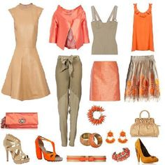 Conoce los colores que mejor combinan | 4LittleDots Diy Fashion, Fashion Outfits, Colourful Outfits, Orange Outfits, Warm Colors, Style Me, Coral, Beige, Clothes For Women