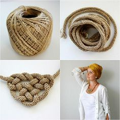 This post was discovered by Ca Spool Knitting, Knitting Patterns, Crochet Patterns, Textile Jewelry, Fabric Jewelry, Jewellery, Crochet Collar, Knit Crochet, Crochet Bracelet