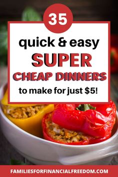 Check out these 35 cheap meals! Find quick and cheap meals under $5! Get cheap recipes under 5! Get cheap dinner recipes for families! Save money with these cheap meals! Find cheap and easy dinners your family will love! Get cheap budget family meals! #dinner #easydinner #familydinner #cheapdinners #cheapmeals #meals #savemoney #money #family #save #frugal #budget #30minutemeals #easymeals Quick Cheap Meals, Cheap Dinners, Cheap Recipes, Easy Dinners, Budget Family Meals, Frugal Meals, 30 Minute Dinners, Enchilada Recipes, Frugal Living