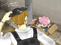 ㅠㅠ TaeTae encountering abandoned kitten Jiminie and bunny rabbit Kookie on a rainy day. Who would ever be so cruel! Uruhiko has done it again with her amazing maknae line fanart
