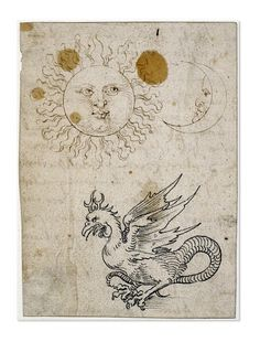 Albrecht Dürer, The Sun, the Moon and a Basilisk, 1512. Drawing. Germany. Via British Museum. The sun, the moon and basilisk (half-eagle and half-serpent, hatched from a cock's egg by a serpent). Together these three symbols represented Eternity.