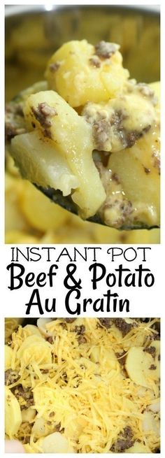 Ground Beef And Potatoes, Potted Beef Recipe, Pressure Cooking Recipes, Power Cooker Recipes, Potatoes Au Gratin, Russet Potatoes, Sliced Potatoes, Instant Pot Dinner Recipes, Recipes Dinner