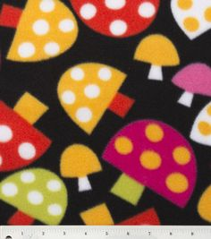 Blizzard Fleece Print- Spotted Mushrooms: fleece fabric: fabric: Shop   Joann.com