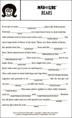 This is an image of Witty Camping Mad Libs Printable