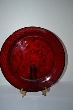 Ruby Red Arcoroc Luminarc Pressed Glass Dinner by LavenderNThyme, $12.50