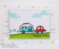 Lawn Fawn - Happy Trails, Into the Woods 6x6 paper _ fun card with fresh colors by Rachel at RWKrafts: Happy Trails