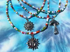Hippie Sun/Mushroom Beaded Necklace | Etsy