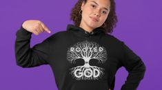 Rooted in God – Girls Reminded & Inspired Mindset Quotes Positive, Roots, Graphic Sweatshirt, Positivity, God, Inspired, Girls, Products, Dios