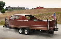"""""""Flagship"""" - One of only fourteen 25' Sportsman's built by Chris-Craft in 1947 which carried the $500.00 optional Streamline Ventilating Top."""