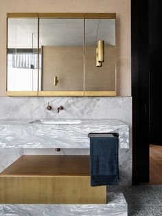 Potts Point Residence by Flack Studio | Yellowtrace Wc Bathroom, Modern Bathroom, Flack Studio, Marble Fireplace Surround, Polished Plaster, Brass Mirror, Bathroom Design Inspiration, Level Homes, French Oak