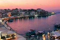 Sunset over Chania Harbour Chania Crete Greece