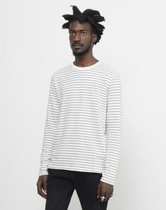The Idle Man Striped Long Sleeve Jumper White #StyleMadeEasy