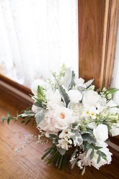 Ivory, white and greens are such elegant colours for a bridal bouquet. Bouquet Wedding, Wedding Flowers, Blooms Florist, Ivory White, Wedding Colors, Our Wedding, Wedding Planning, Colours, Table Decorations