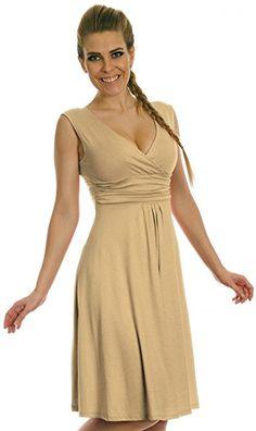8951b88f0 Glamour Empire Damen Skater Freizeitkleid Sommer Kleid Partykleid Gr. 36-46  256 (Beige