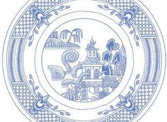 Klassiek porseleinen servies van Calamityware. Grafisch ontwerper en tekenaar Don Moyer is dol op tekenen. Het liefste maakt hij dan ook tekeningen die hem laten lachen. Enkele jaren geleden begon hij met het illustreren van Willow patronen die je vooral terug vindt op saaie traditionele borden die geïmporteerd werden uit China in de achttiende eeuw.