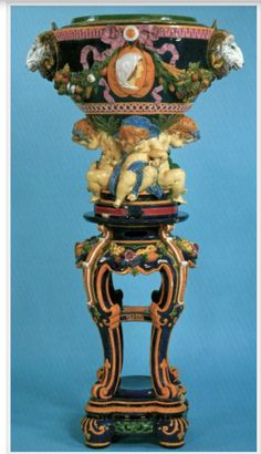 Minton Majolica Pedestal and Jardiniere. Designed by Albert Ernest Carrier-Belleuse. 137cm. high, total. Currently on display at the Walters Art Museum in Baltimore, MD. USA Christies NY image.