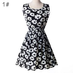 Summer Women Casual Print Dress Sleeveless Elastic Waist Party Dresses