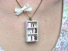 Literary Furniture Pendants - The Bookshelf Necklace is a Great Gift for the Bookworm (GALLERY)