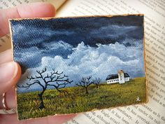 This autumn landscape painting features a white barn and silo looking very exposed in a desolate field under a stormy sky. Though only slightly larger than a business card, miniature paintings can mak Mini Paintings, Original Paintings, Original Art, Miniature Paintings, Beautiful Landscape Paintings, Beautiful Landscape Photography, Landscape Sketch, Watercolor Landscape, Mini Canvas Art
