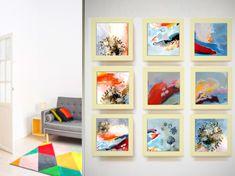 Customizable of 9 frame Paintings serie, set art wall idea, colorful birght Original print of modern art, custom. picture paintings