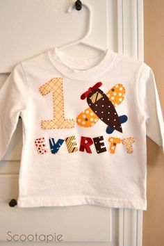 Airplane Age & Name Applique Birthday Shirt Made to by scootapie, $18.00