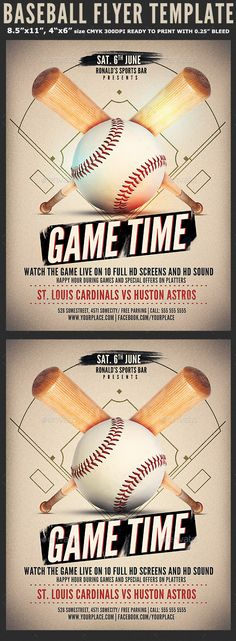 Baseball Game Flyer Template by Hotpin Baseball Game Flyer Template is a modern psd flyer that will give the perfect promotion for your upcoming screening or party for y