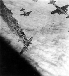 B-17G Powerful Poodle, takes a direct hit from flak over Ludwigshafen Germany on November 5, 1944, entire crew died!    B-17 G  Powerful Poodle take`s a direct hit from flak over Ludwigshafen, Germany, during her tenth and last sortie. She went down Nov 5, 1944, all of the crew were killed.    B-17 G  Powerful Poodle take`s a direct hit from flak over Ludwigshafen, Germany, during her tenth and last sortie. She went down Nov 5, 1944, all of the crew were killed.