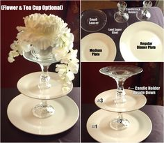 Inexpensive DIY Cupcake/Finger Sandwich Tower with items from Dollar Tree • Plates (Small, Medium, Large) • Candlestick Holders • Super Glue • Tea Cup & Flowers optional