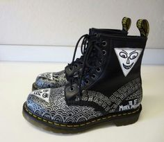 Mark Wigan customized 1460 black boot. The triangle face looks evil...