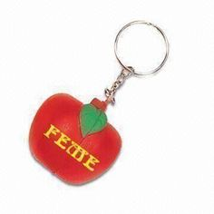 Promotional PU Stress Ball with Key Ring, Customized Logos are Accepted, Available in Various Colors