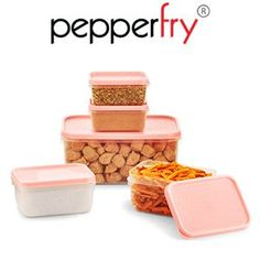 All Time Polka Kitchen Container 5 Pcs Set Pink at Rs.99 Free Shipping
