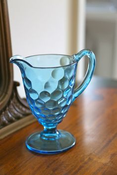 Vintage Blue Glass Creamer. $15.00, via Etsy.