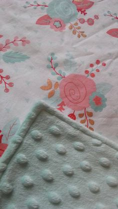 Floral Baby Blanket / Crib Quilt  / Modern Crib bedding - Baby Girl - Baby Shower Gift - Minky - Coral Mint Gold - Ready to ship! by CozyCreations4Home on Etsy https://www.etsy.com/listing/504570927/floral-baby-blanket-crib-quilt-modern
