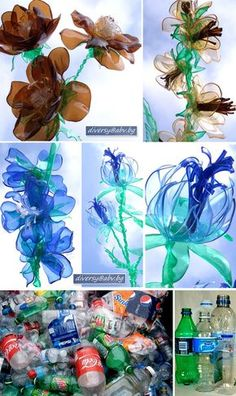 Plastic Bottle FLOWERS....probably better for older kids. Melt with candle. I suppose younger kids could help cut out shapes?