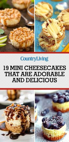 25 Mini Cheesecakes That Are the Perfect Combination of Adorable and Delicious is part of Mini dessert Ideas - Because dessert just tastes better when it's bitesize Mini Desserts, Desserts Nutella, Small Desserts, Bite Size Desserts, Just Desserts, Delicious Desserts, Dessert Recipes, Finger Desserts, Party Desserts