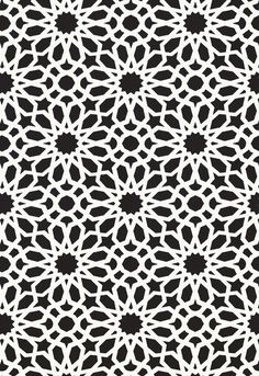 Agadir Screen in Noir, 5006642. http://www.fschumacher.com/search/ProductDetail.aspx?sku=5006642 #Schumacher Geometric Wallpaper, Pattern Wallpaper, Wallpaper Warehouse, Agadir, Pattern Names, Schumacher, Colorful Interiors, Fabric, Home Decor Inspiration