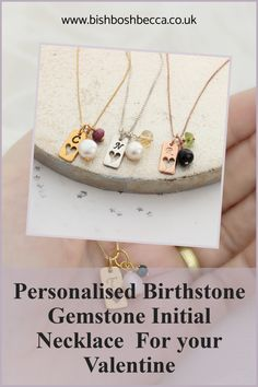 Perfectly personalised for your Valentine This Birthstone Gemstone & Letter Tag Charm Necklace can be personalised to create a romantic gift for her #necklace #heart #valentine #birthstone #gemstone #personalised #silver #gold #rosegold #valentines #charm Letter Charm Necklace, Letter Charms, Valentine Hearts, Valentines, Birth Gemstone, Romantic Gifts For Her, Black Gift Boxes, Gold Paper, Birthstone Charms