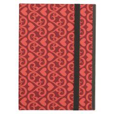 Elegant Scrolled Hearts Design iPad Case #valentine #red #pink