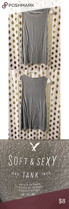 Gray AE tank with braiding! Really comfy and loose Super comfy gray AE tank with braiding! Medium. Loose fitting. American Eagle Outfitters Tops
