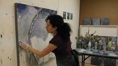 Rachelle Krieger painting in her studio